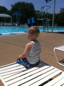 Waiting for his turn in the big pool.